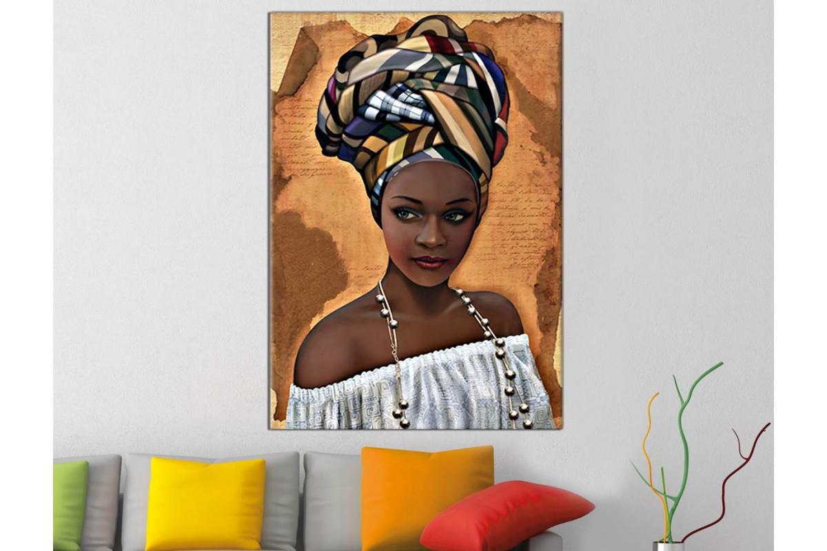 sraf6 - Etnik Afrikalı Kadın Yağlı Boya Görünümlü Dekoratif Kanvas Tablo