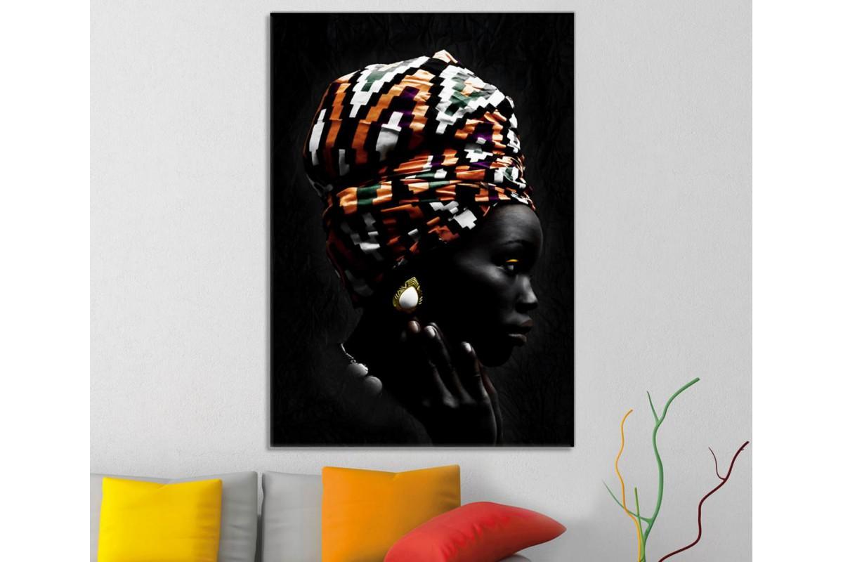 sraf7 - Etnik Eşarplı Afrikalı Kadın Dekoratif Kanvas Tablo
