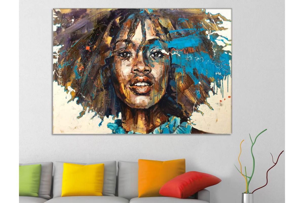 sraf8 - Yağlı Boya Görünümlü Siyahi Kadın Dekoratif Kanvas Tablo