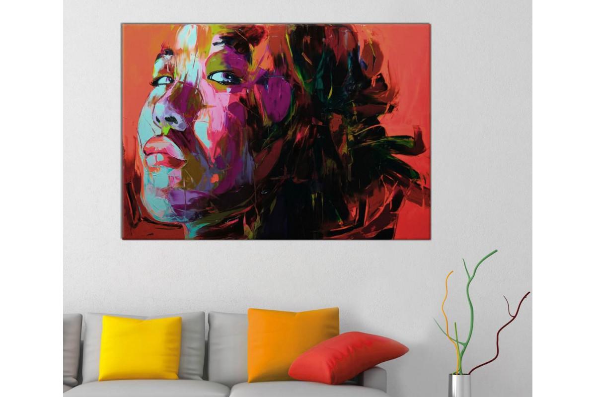 sraf9 - Yağlı Boya Görünümlü Kadın Soyut Dekoratif Kanvas Tablo
