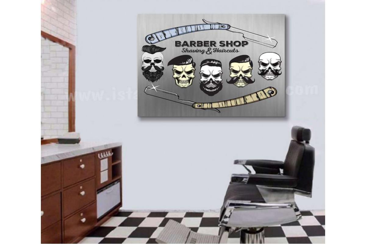 srbb6 - Usturalar ve Sakallı Kurukafa Hipster Erkek Berber Kuaförü Kanvas Tablo