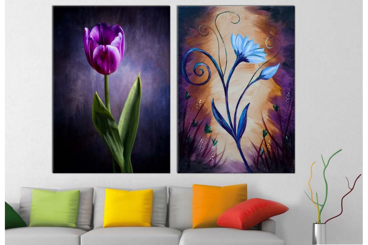 srbd112_2p - Yağlı Boya Görünümlü Çiçekler Kanvas Tablolar - 2 adet