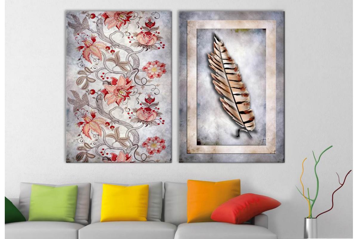 srbd12 - Özel Tasarım Dekoratif Çiçekler ve Tüy Kanvas Tablolar 70x100cm (2 adet 50x70cm)