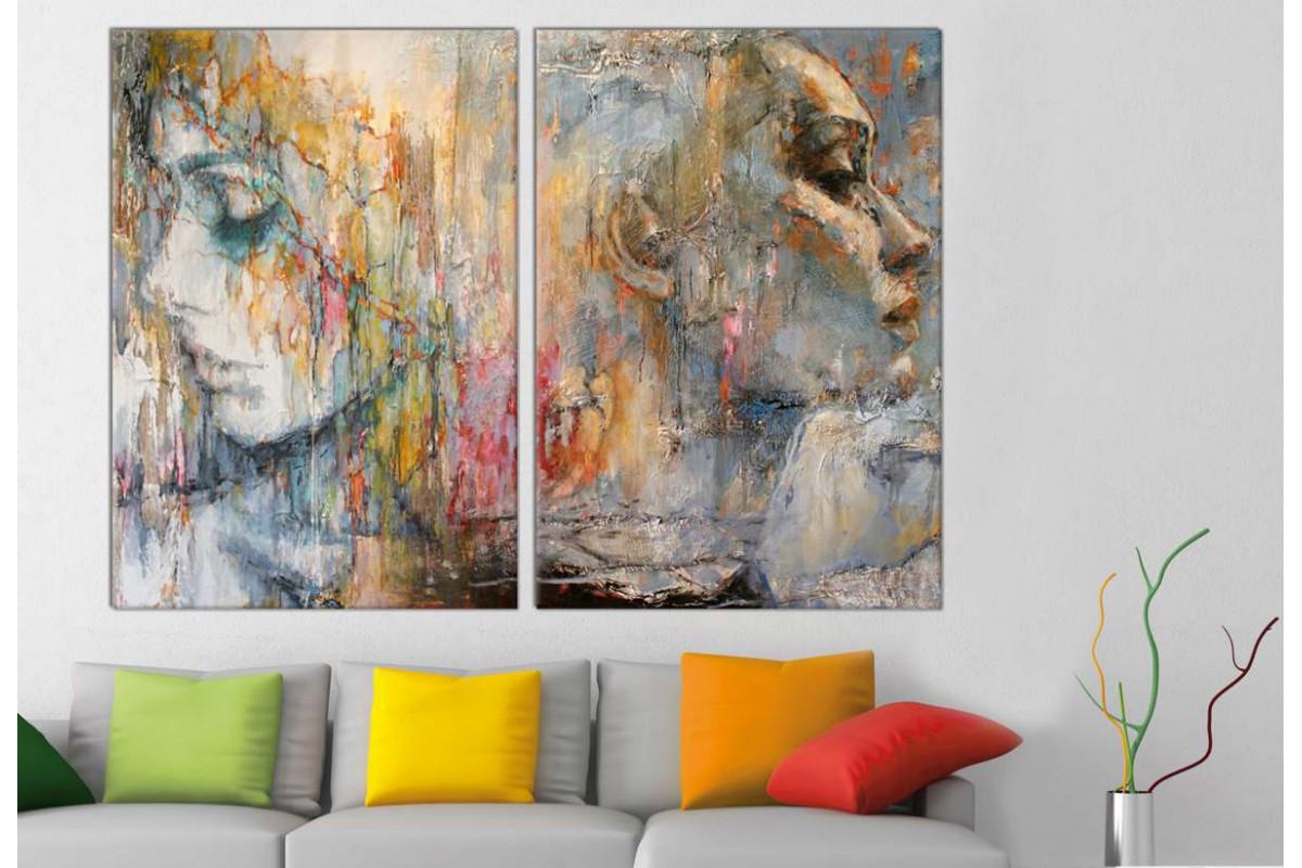 srbd134_2p - Yağlı Boya Görünümlü Kadınlar Dekoratif Soyut Kanvas Tablolar - 2 adet