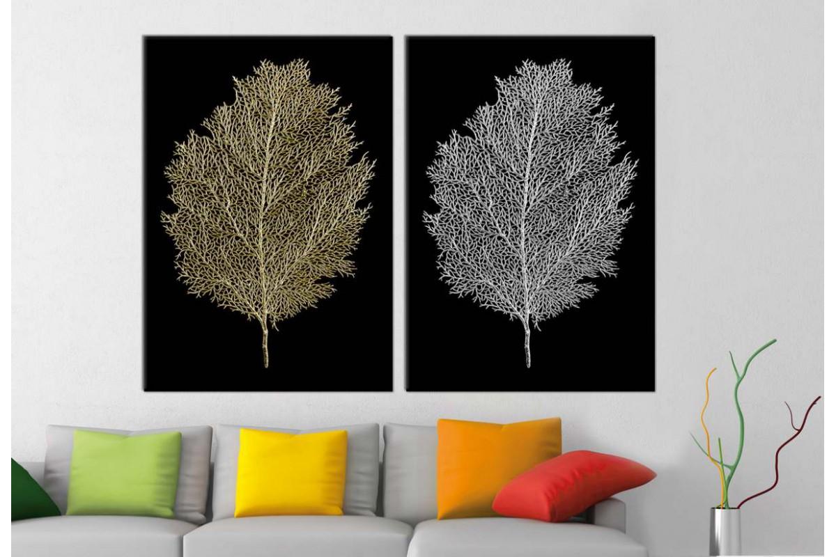srbd156_2p - Altın ve Gümüş Görünümlü Yapraklar Dekoratif Kanvas Tablo Seti - 2 adet