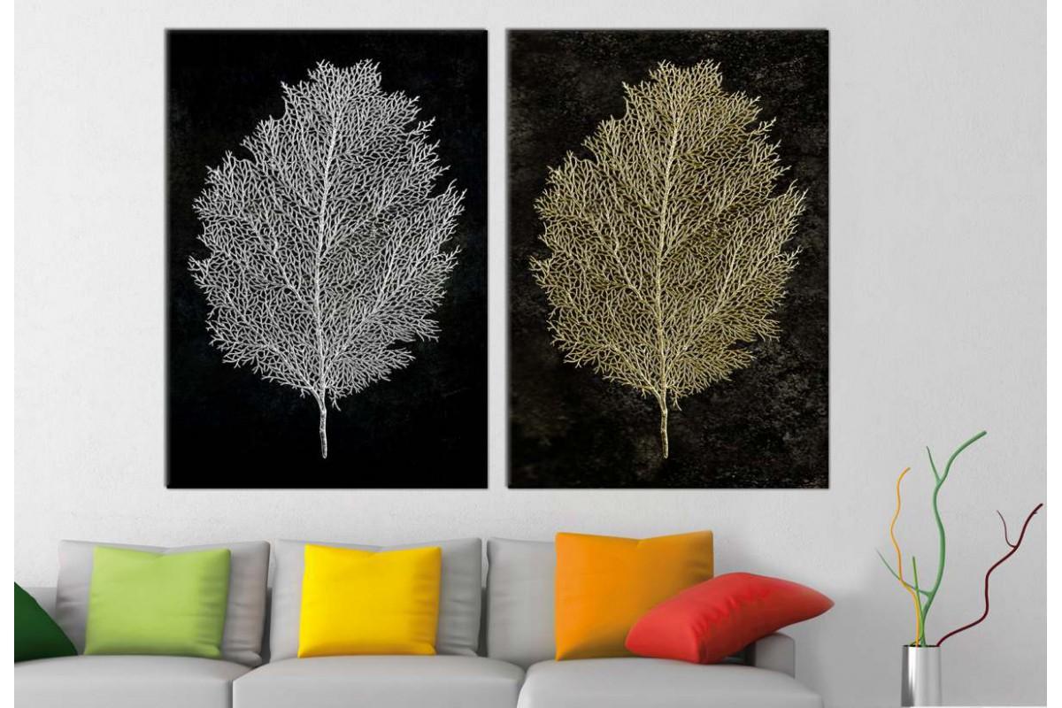 srbd156b_2p - Altın ve Gümüş Görünümlü Yapraklar Dekoratif Kanvas Tablo Seti - 2 adet