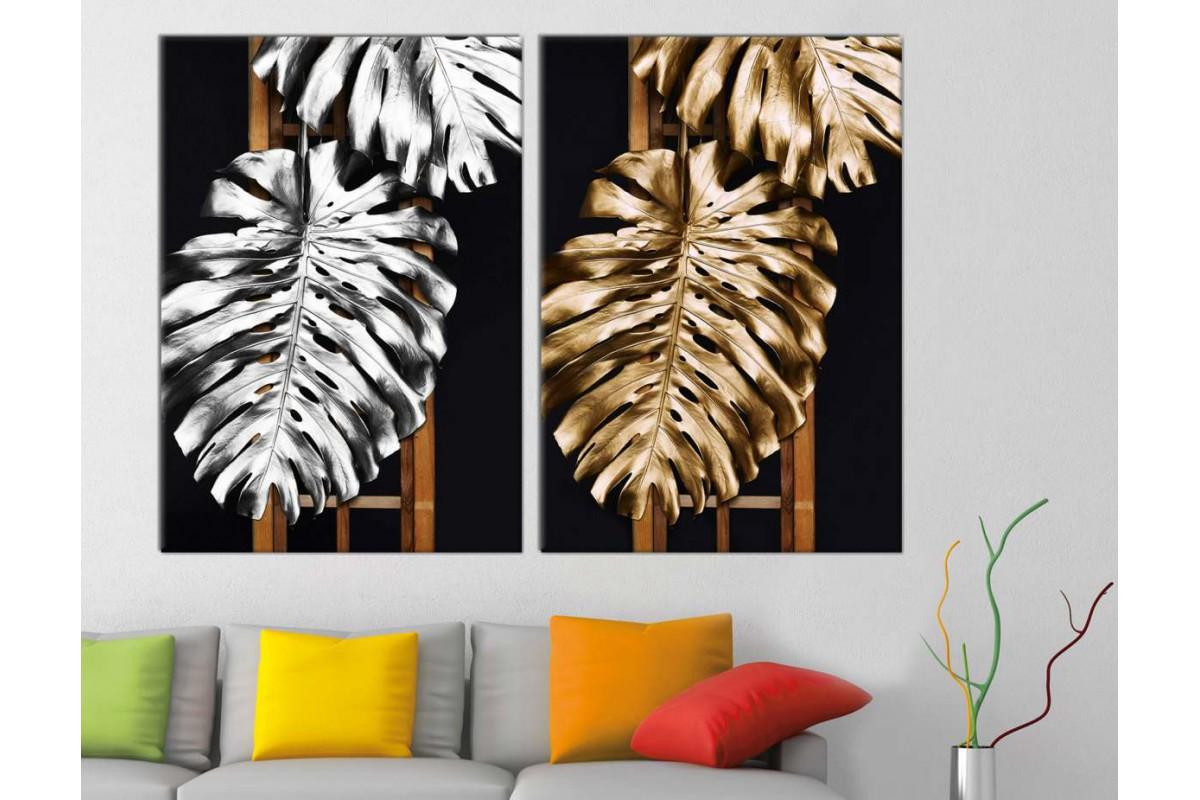 srbd178_2p - Altın ve Gümüş Görünümlü Yapraklar Dekoratif Kanvas Tablo Seti - 2 adet