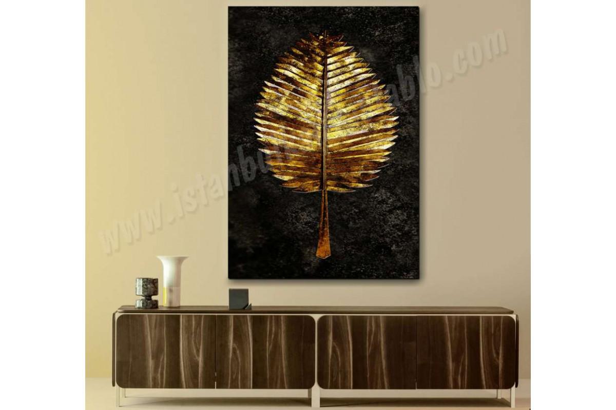 srbd3 - Özel Tasarım Dekoratif Altın Yaprak Kanvas Tablo
