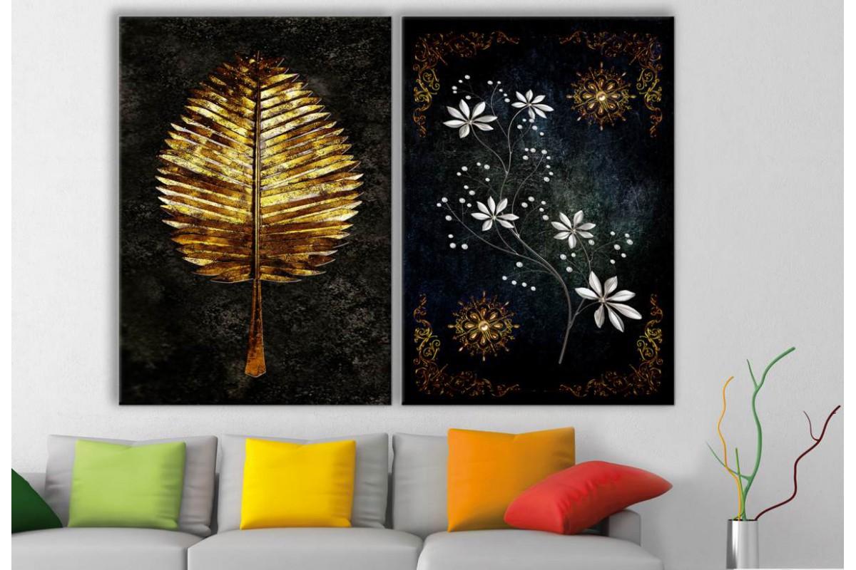 srbd34 - Özel Tasarım Altın Yaprak ve Altın, Gümüş ve İnci Desen Tablolar