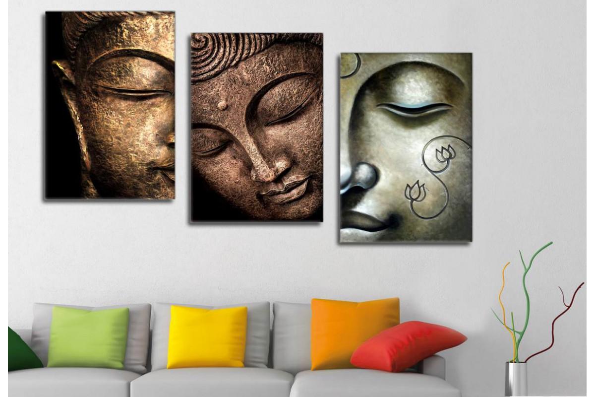 srbd4 - Buddha Suratları, Buda Yüzleri Dekoratif Kanvas Tablolar 70x150cm (3 Adet 50x70cm)