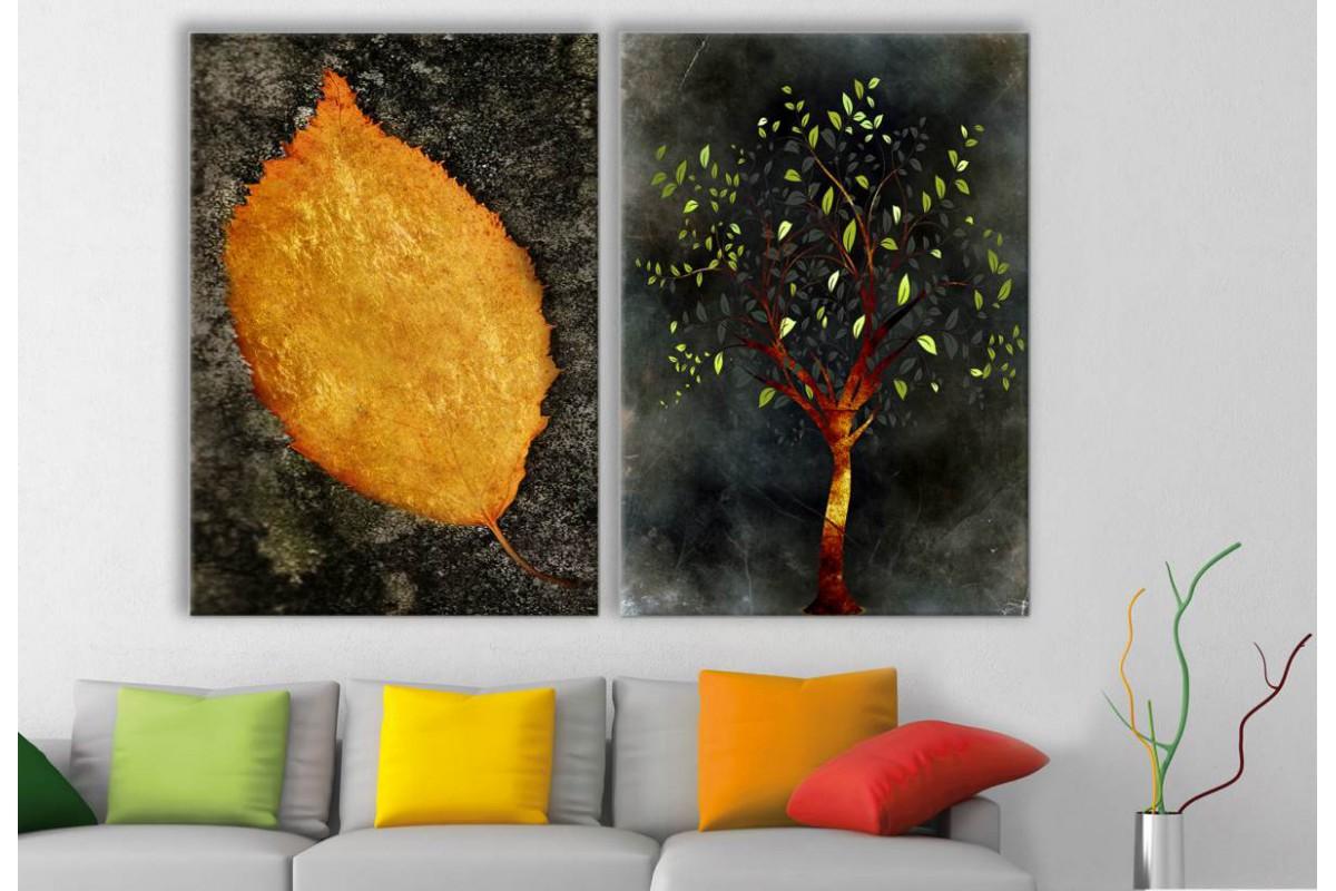 srbd56 - Özel Tasarım Dekoratif Sarı Yaprak ve Altın Ağaç Kanvas Tablolar