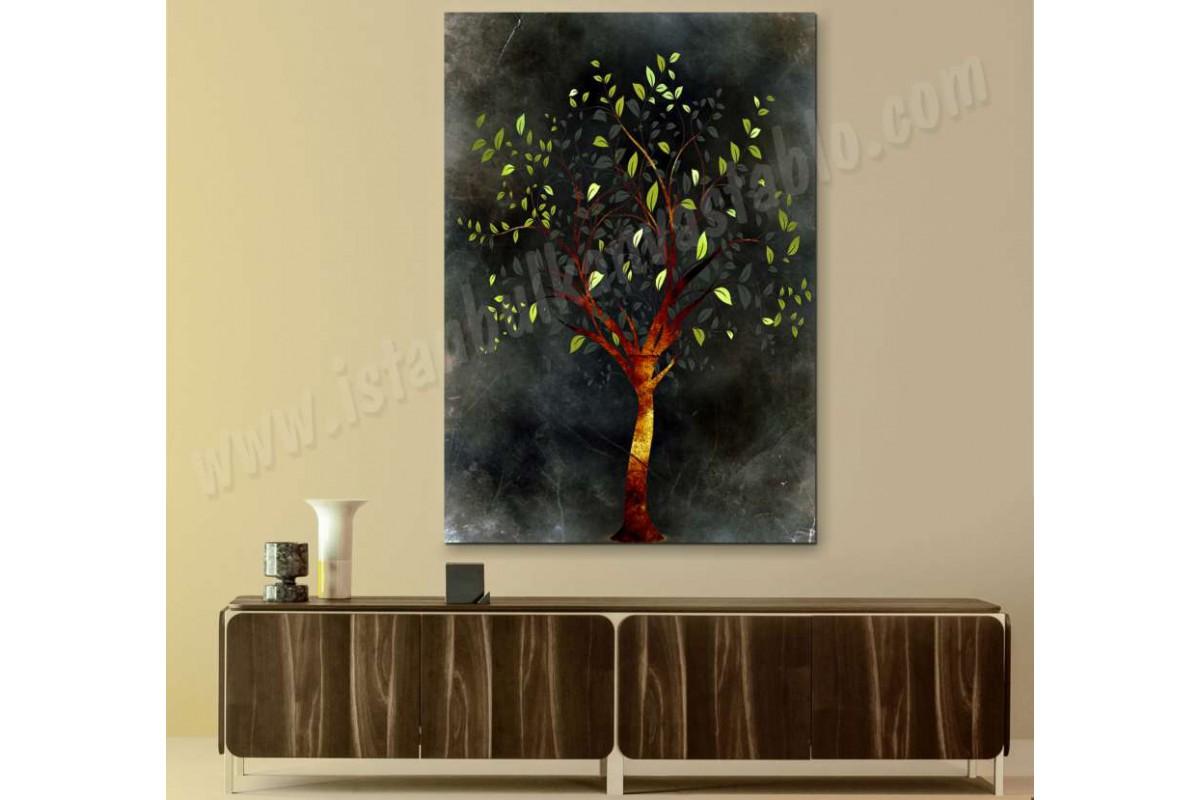 srbd6 - Dekoratif Yeşil Yapraklı Ağaç Soyut Kanvas Tablo