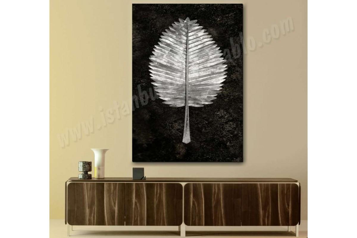 srbd7 - Özel Tasarım Dekoratif Gümüş Yaprak Kanvas Tablo