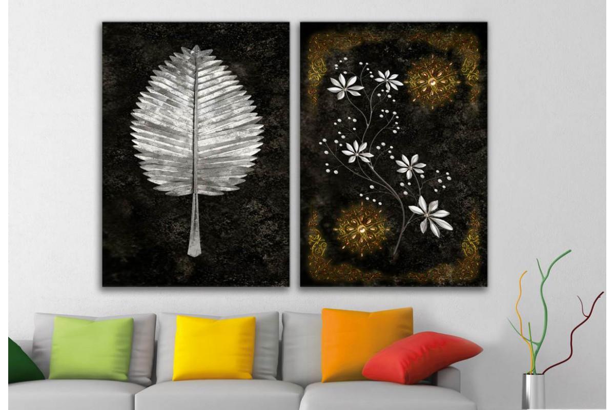 srbd78 - Özel Tasarım Gümüş Yaprak ve Altın, Gümüş ve İnci Desen Kanvas Tablolar