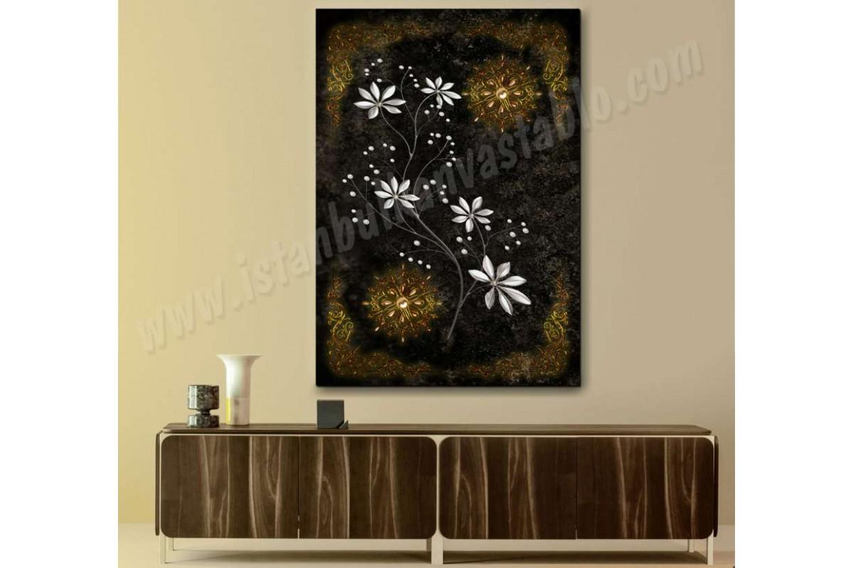 srbd8 - Altın Ve Gümüş Çiçek Desenli Kanvas Tablo