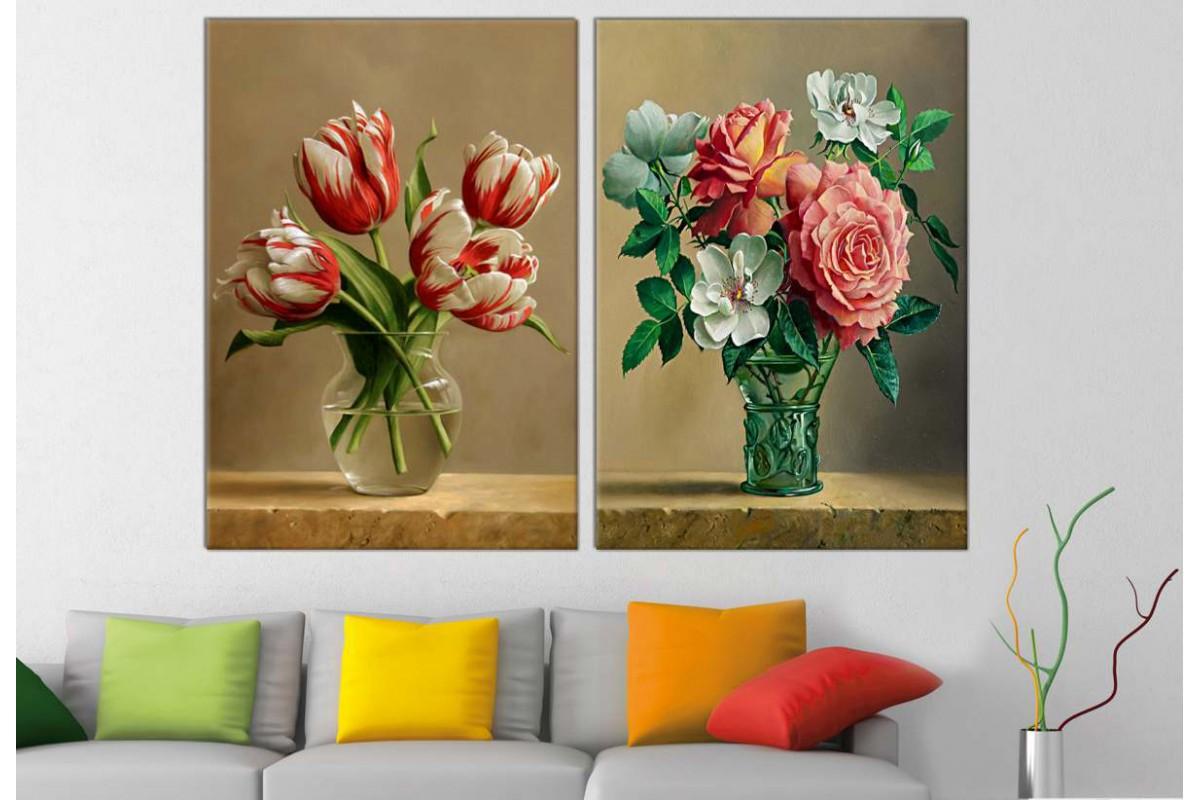 srbd910_2p - Yağlı Boya Görünümlü Vazoda Çiçekler Kanvas Tablolar - 2 adet
