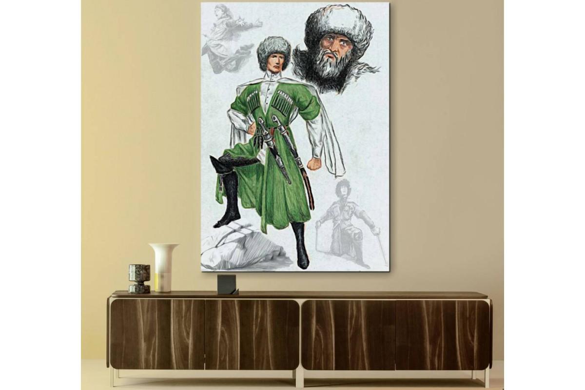 srck1 - Çerkes Savaşçı ve Şeyh Şamil Özel Tasarım Kanvas Tablo