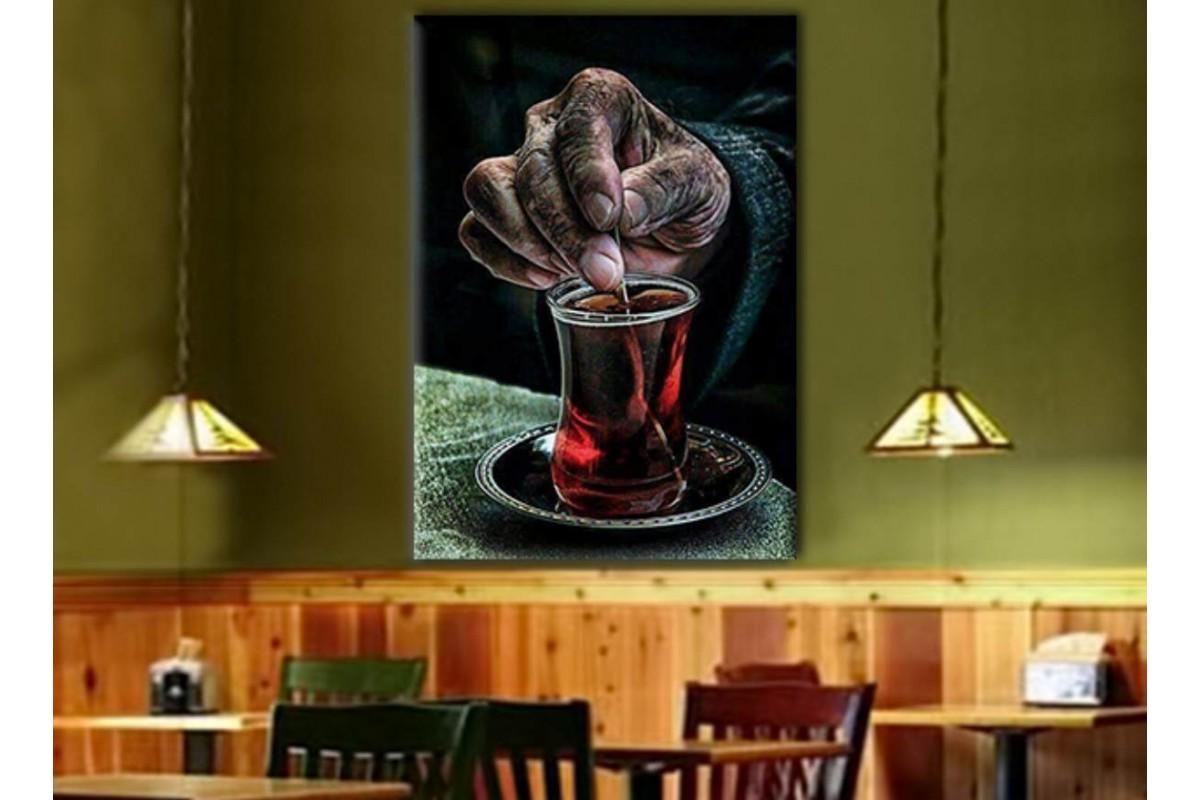 srcy1 - Çay İçen Adam, Çay evi, Nargileci - Cafe - Kahvehane için Dekoratif Kanvas Tablo