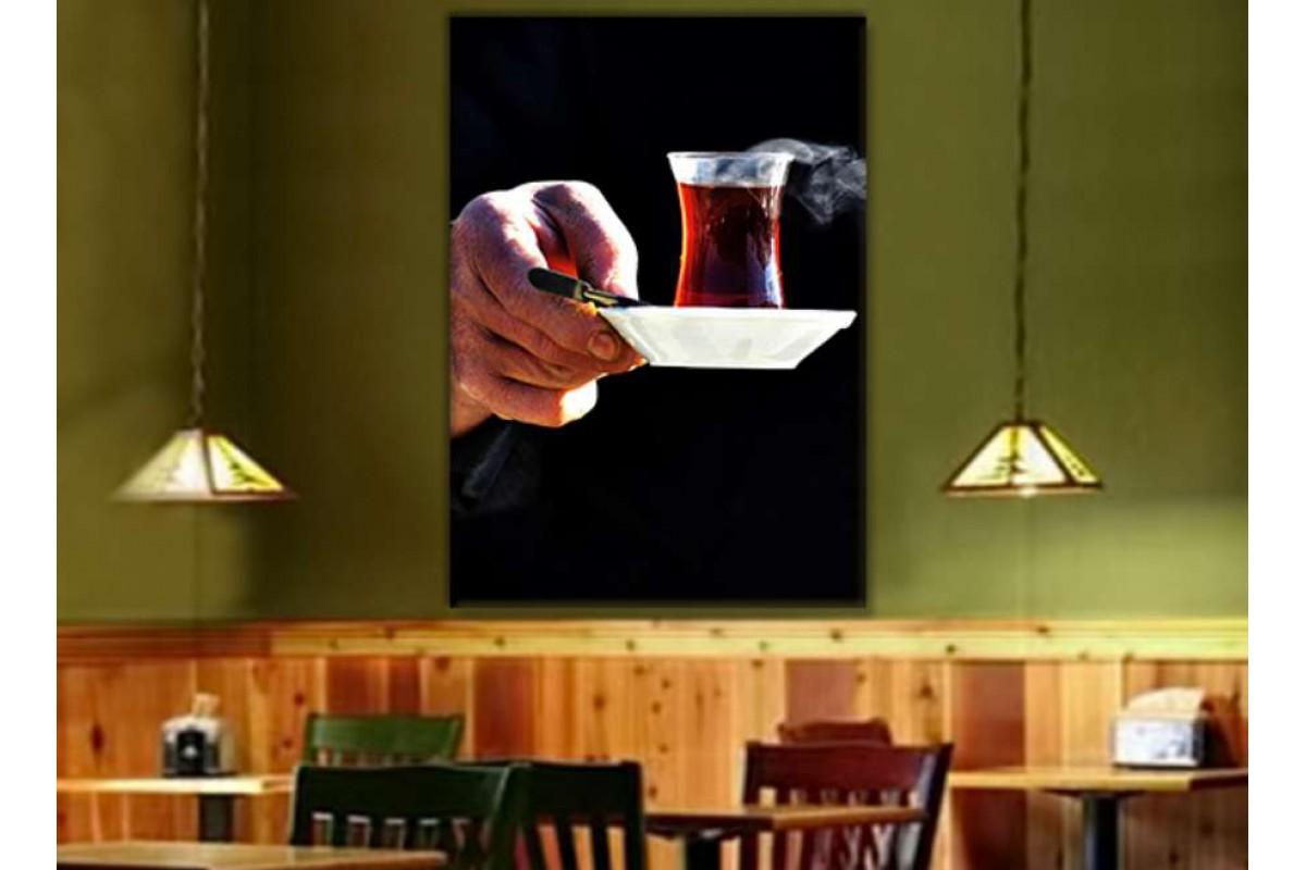 srcy4 - Dumanı Tüten Çay Bardağı Kanvas Tablo
