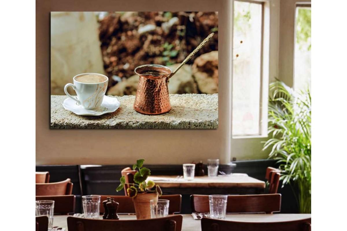 srcy5 - Cezve ve Türk Kahvesi Kahvehane Kanvas Tablo