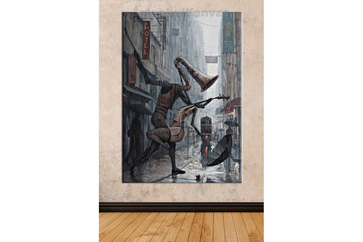 Srd05b - Yağlı Boya Görünümlü Dans Eden Enstrümanlar - Modern Sanat - Soyut Kanvas Tablo