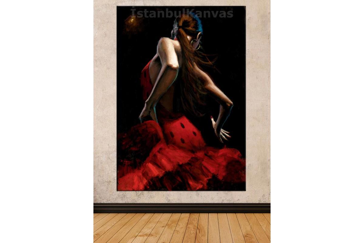 Srd10 - Yağlı Boya Görünümlü Flamenko Dansı Yapan Kadın Kanvas Tablo