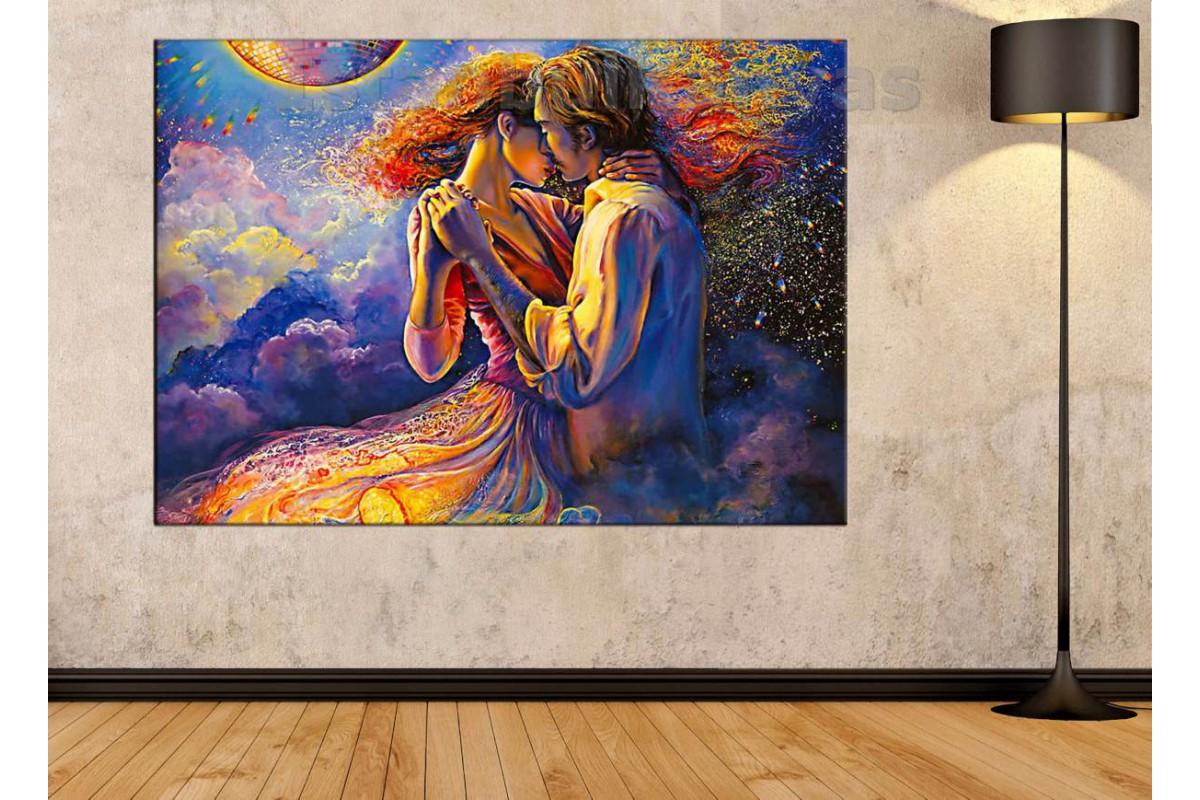 Srd17 - Soyut Yağlı Boya Görünüm Dans Eden Sevgililer Kanvas Tablo