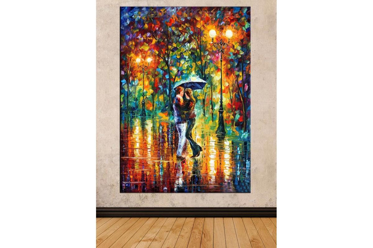 Srd24 - Soyut Yağlı Boya Görünümlü Dans Eden Şemsiyeli Sevgililer Kanvas Tablo