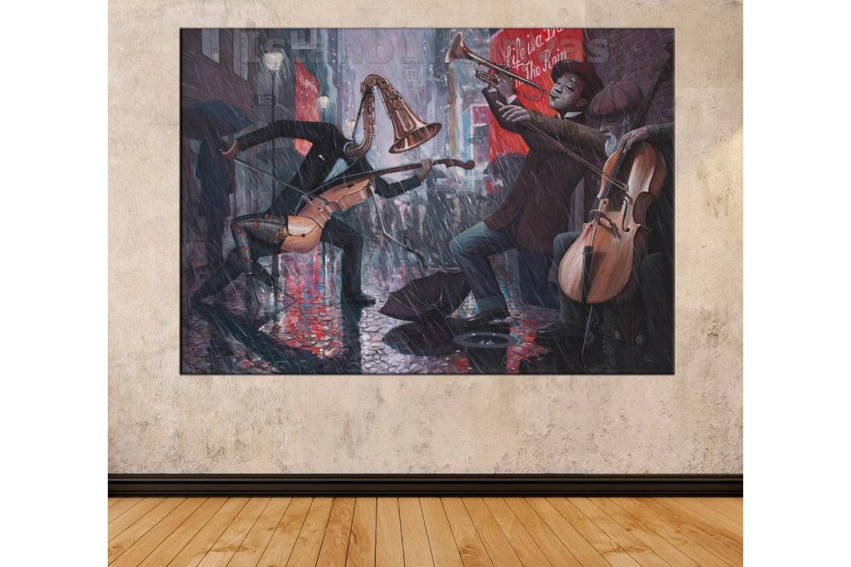 Srd5 - Yağlı Boya Görünümlü Dans Eden Enstrümanlar - Modern Sanat - Soyut Kanvas Tablo