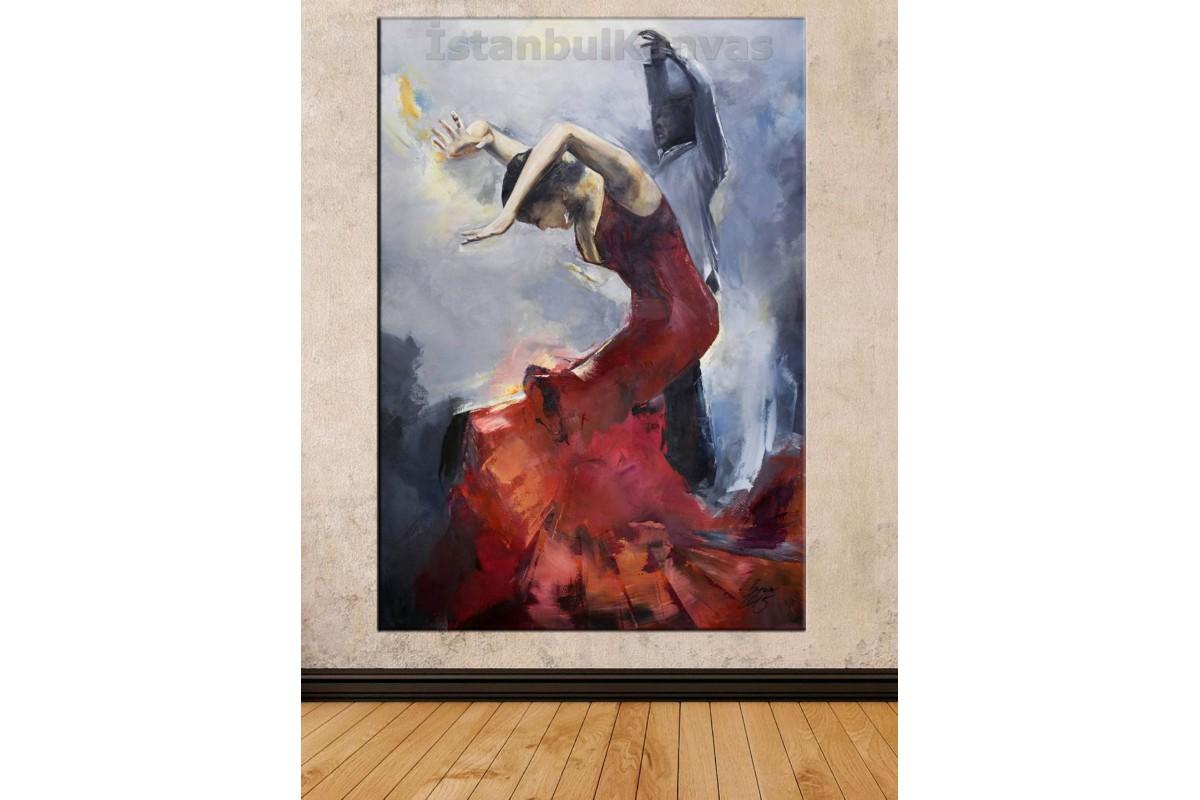 Srd7 - Yağlı Boya Görünümlü Flamenko Dansı Yapan Çift , Dans Kanvas Tablo