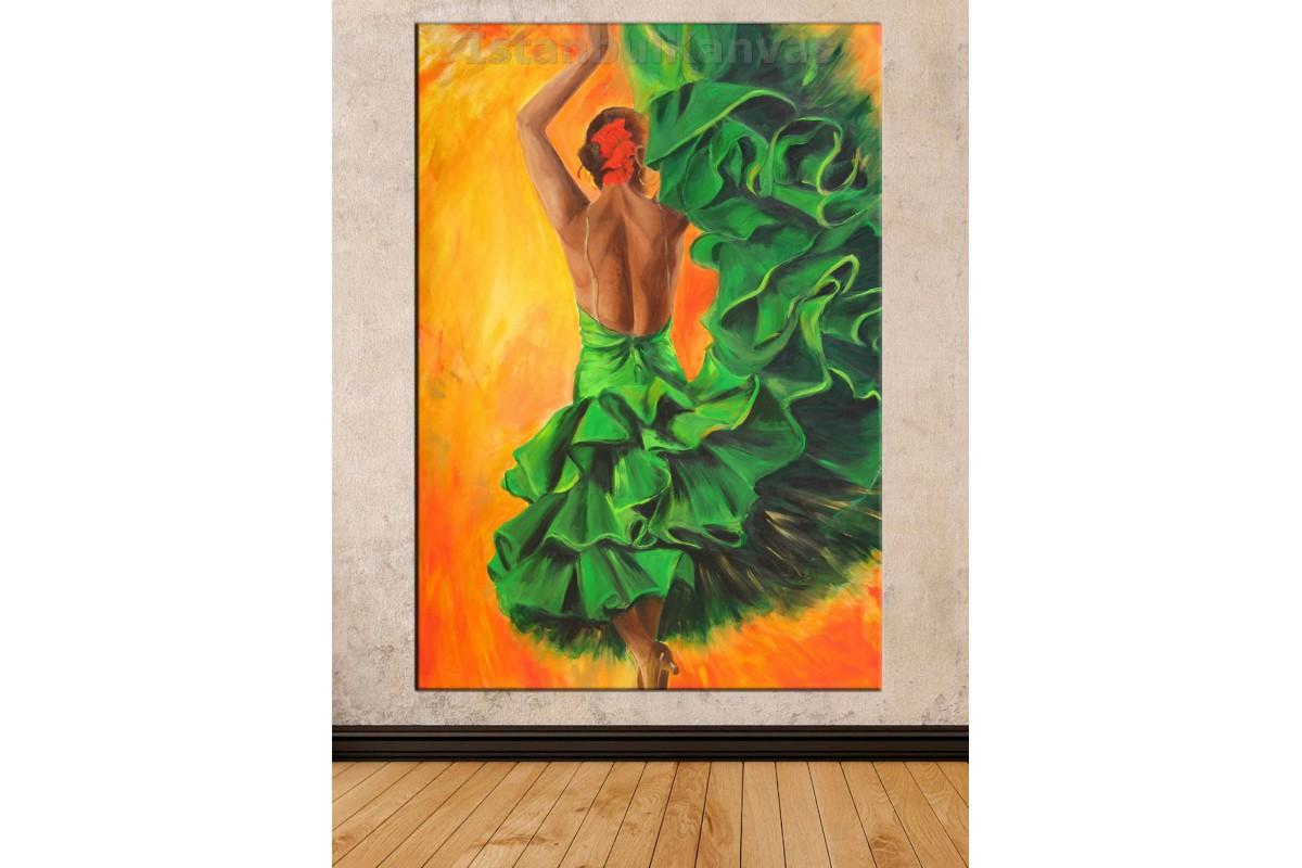 Srd8 - Yağlı Boya Görünümlü Flamenko Dansçı - Dans - Soyut Kanvas Tablo