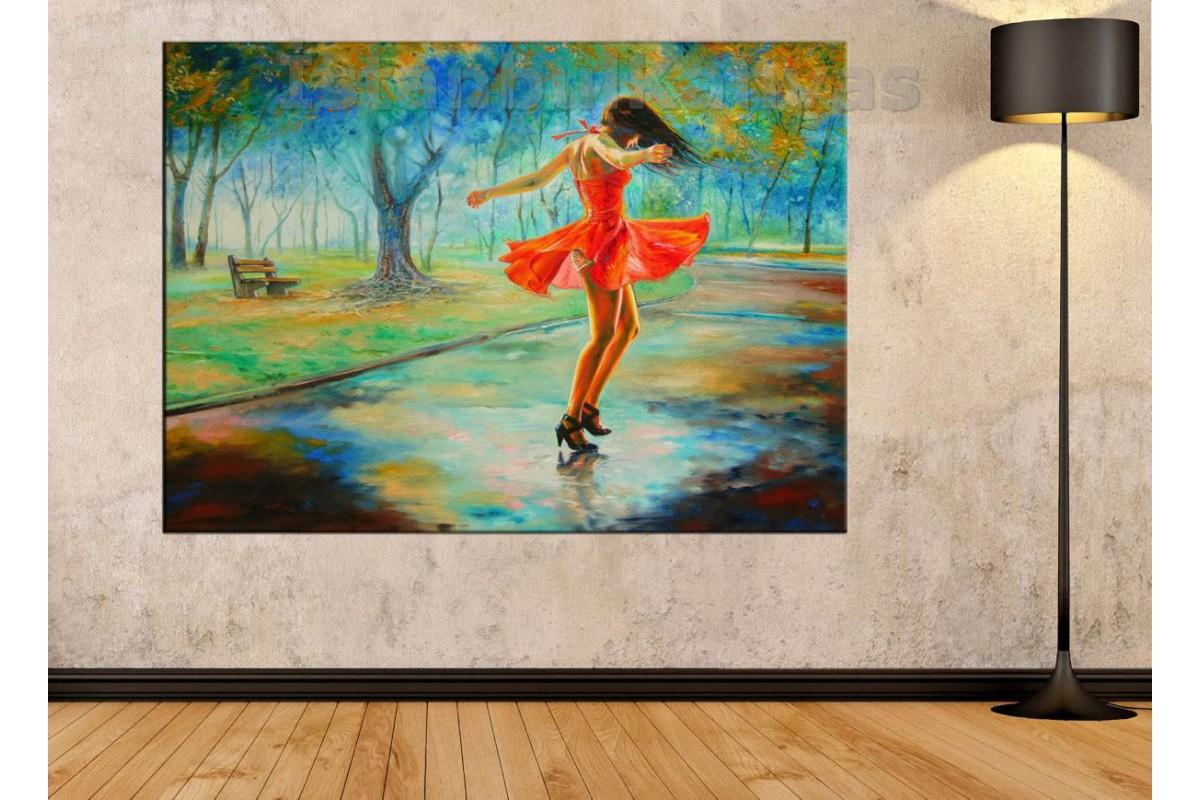 Srd9 - Yağlı Boya Görünümlü Dans Eden Kız - Dans - Soyut Kanvas Tablo