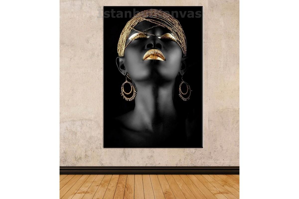 Srda1 - Afrikalı Siyahi Kadın Ve Altın Takılar Kanvas Tablo