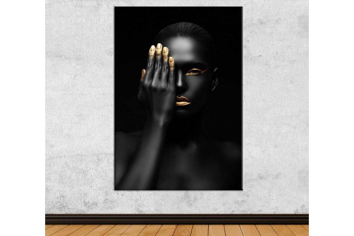 srda10 - Siyah ve Altın Makyajlı Tek Gözü Kapalı Kadın Dekoratif Kanvas Tablo