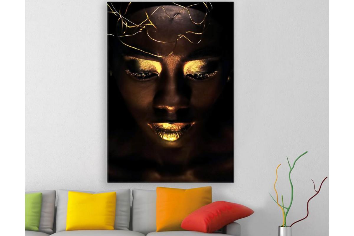 srda11 - Altın ve Siyah Makyajlı Afrikalı Siyahi Kadın Kanvas Tablo