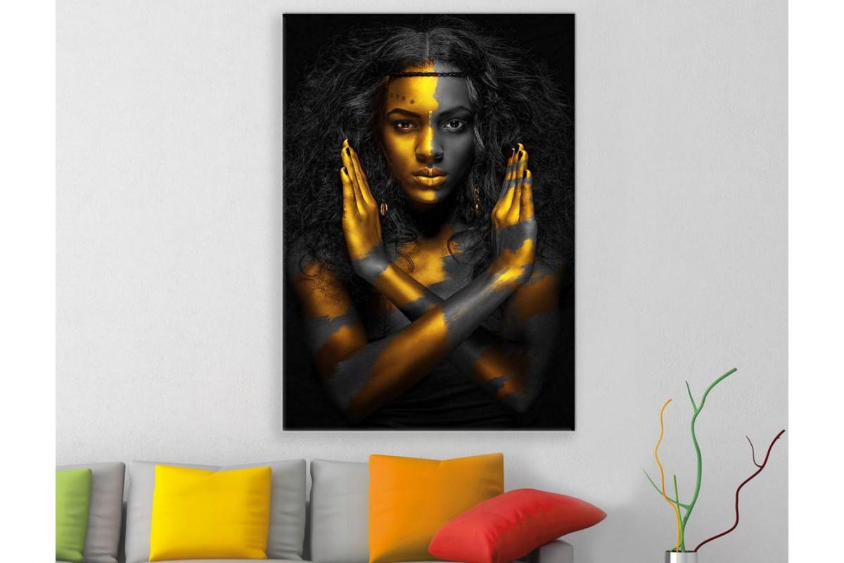 srda12 - Altın ve Siyah Makyajlı Afrikalı Siyahi Kadın Kanvas Tablo