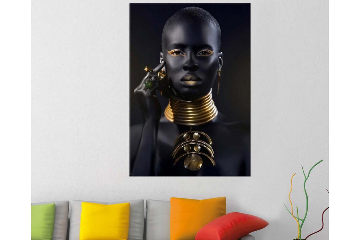 srda16 - Afrikalı Siyah ve Altın Makyajlı Kadın ve Altın Takılar Kanvas Tablo