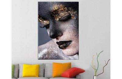 srda18 - Siyah ve Altın Makyajlı Kadın Dekoratif Kanvas Tablo