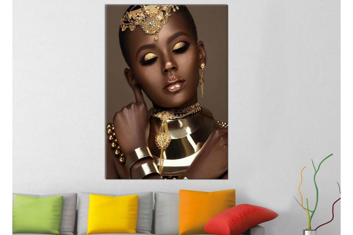 srda20 - Altın Takılar ve Altın Makyaljı Siyahi Afrikalı Kadın Kanvas Tablo