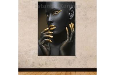 Srda3 - Siyah Ve Altın Rengi Makyajlı Kadın Dekoratif Kanvas Tablo