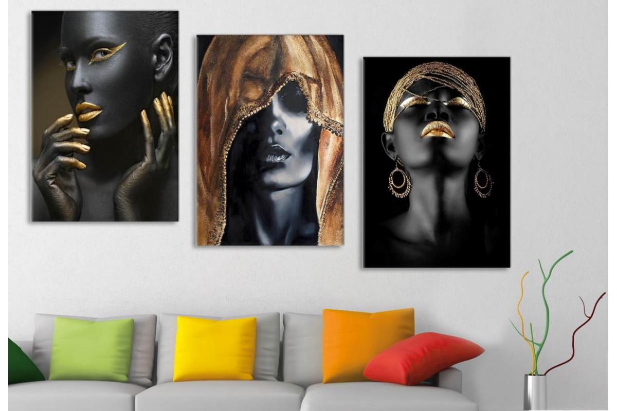srda4 - Siyah ve Altın Rengi Makyajlı Kadınlar Dekoratif Kanvas Tablolar 70x150cm (3 adet 50x70cm)