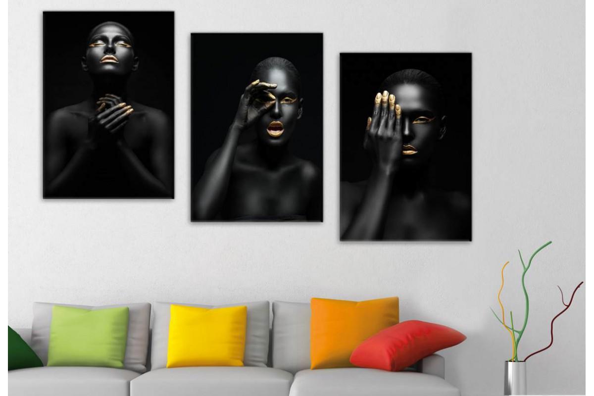 srda4b - Siyah ve Altın Rengi Makyajlı Kadınlar Dekoratif Tablolar 70x150cm (3 Adet 50x70cm)