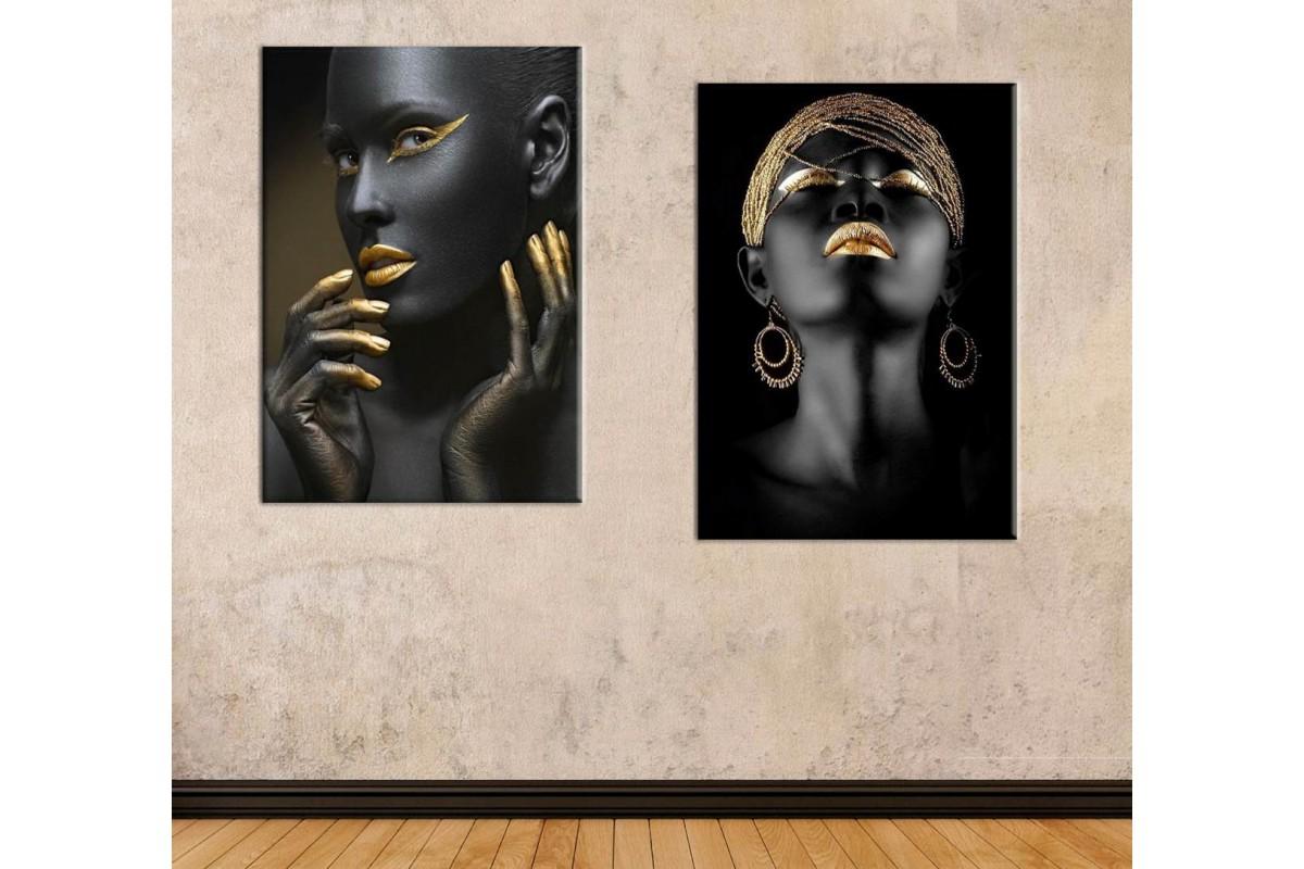 srda5 - Siyah ve Altın Rengi Makyajlı Kadınlar Dekoratif Kanvas Tablolar
