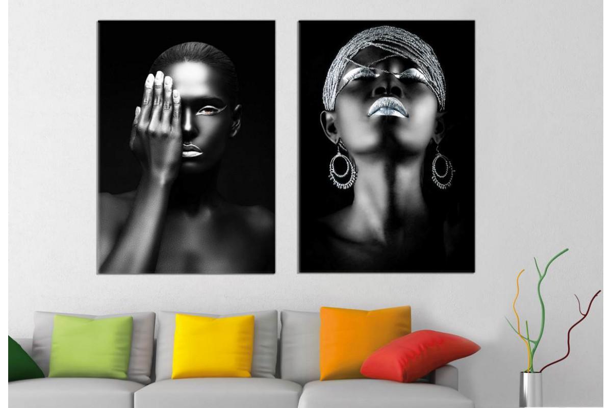 srda5b - Siyah ve Gümüş Rengi Makyajlı Kadınlar Dekoratif Kanvas Tablolar 70x100cm