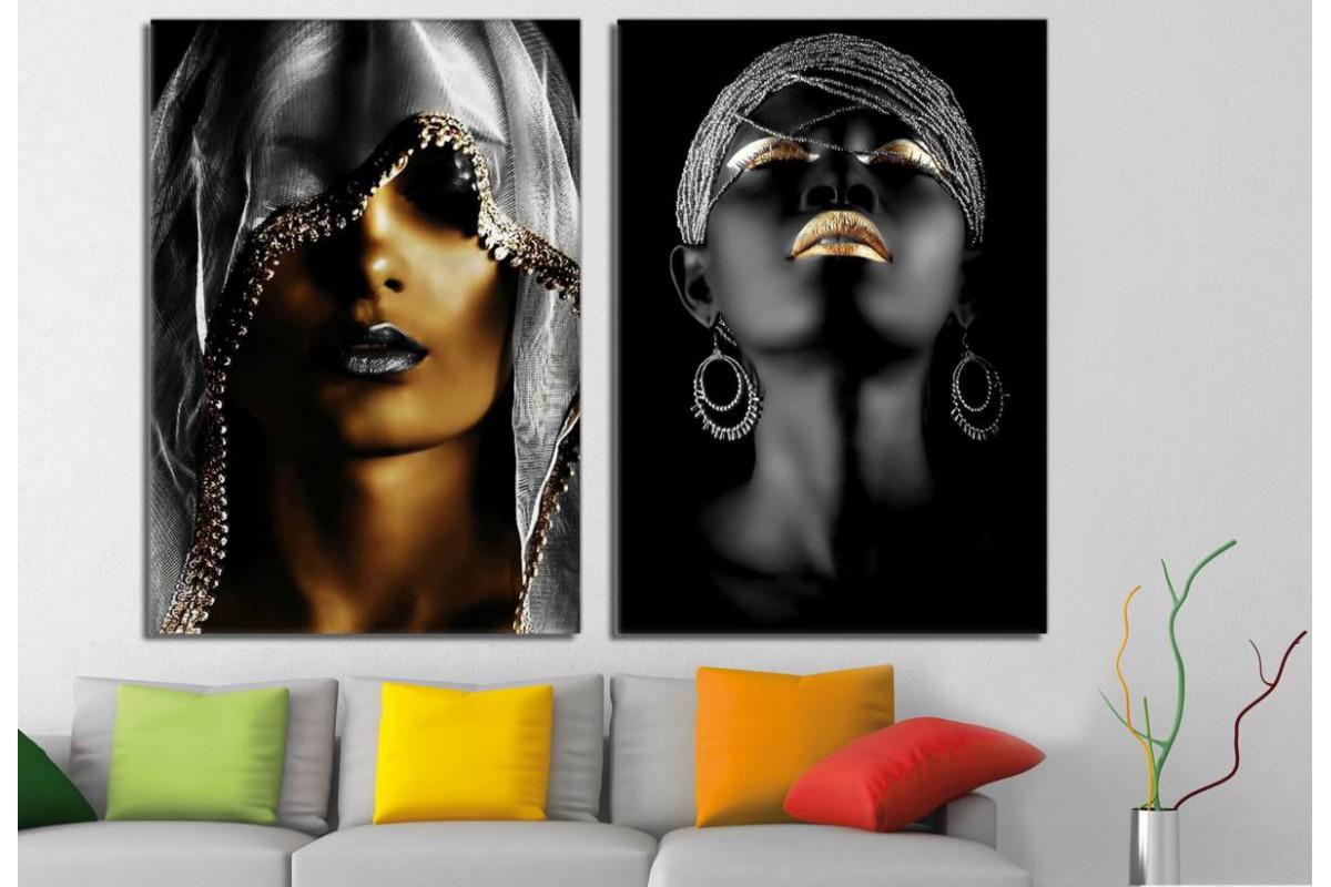 srda5c - Altın ve Gümüş Rengi Siyah Makyajlı Afrikalı Kadınlar Kanvas Tablolar