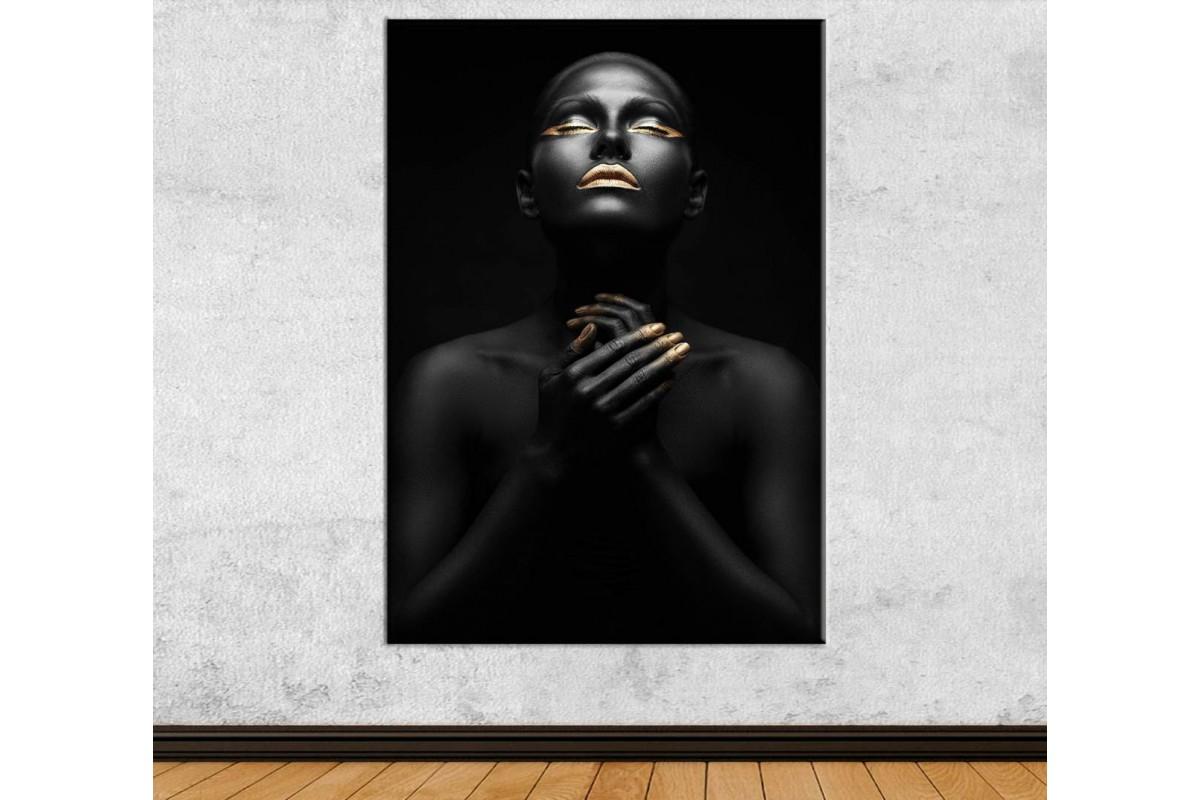 srda8 - Siyah ve Altın Makyajlı Kadın Dekoratif Kanvas Tablo