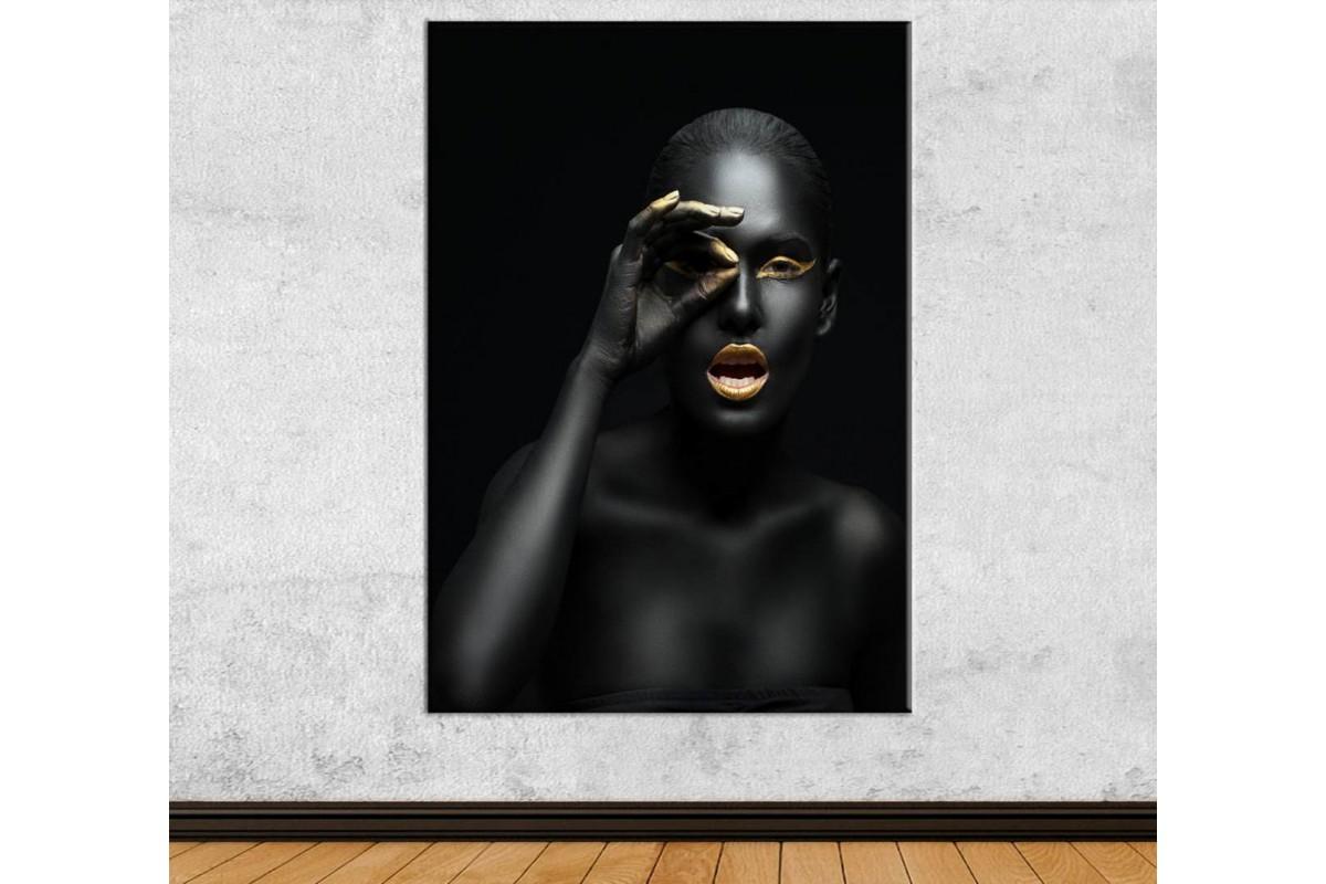 srda9 - Siyah ve Altın Makyajlı Kadın Dekoratif Kanvas Tablo