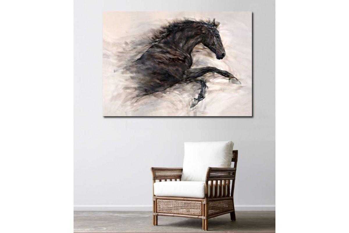 srdh1 - Yağlı Boya Görünümlü Şaha Kalkmış Siyah At kanvas tablo