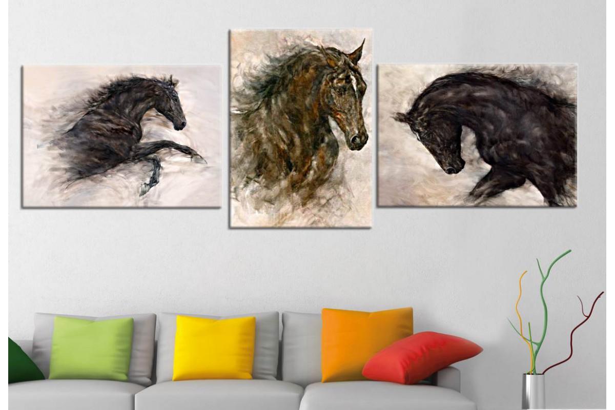 srdh4 - Yağlı Boya Görünümlü Atlar Dekoratif Kanvas Tablo Seti 70x150cm (3 adet 50x70cm)
