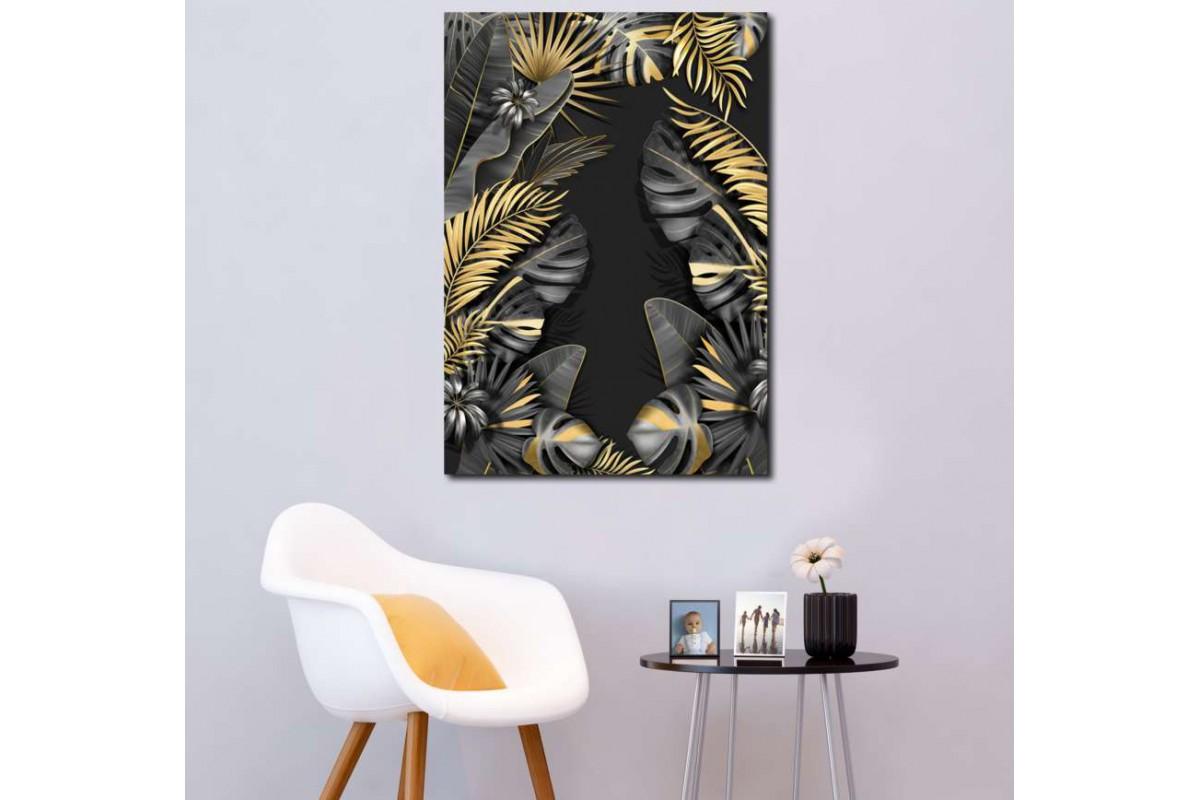 srdk1 - Tropikal Çiçek Desenli Dekoratif Kanvas Tablo